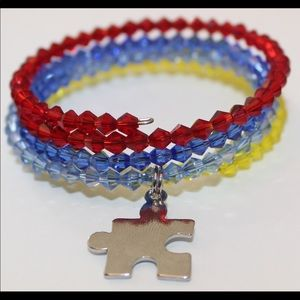 Autism Awareness Crystal memory wire bracelet